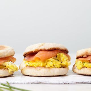 Crème Fraîche Scrambled Egg and Smoked Salmon Sandwiches.