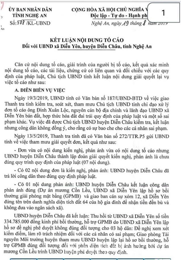 Qua kiểm tra xác minh, Thanh tra               tỉnh làm rõ nhiều sai phạm                          tại xã Diễn Yên, huyện Diễn Châu