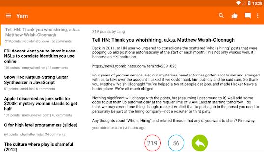 Yarn for Hacker News Screenshot 8