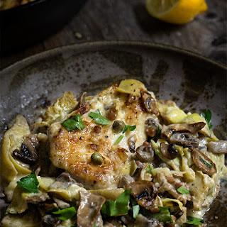 Chicken Scallopini With Mushrooms And Artichokes.