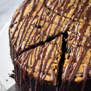 Deep Dish Dark Chocolate Cake with Almond Butter Swirl.