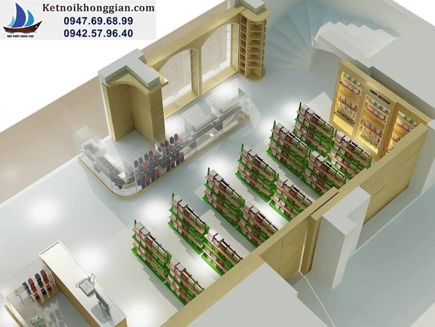 thiết kế nhà sách linh hoạt với kệ gỗ và kính