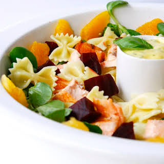 Bow-tie Pasta Salad with Salmon and Orange and Basil Mayonnaise.