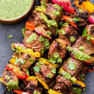 Steak Fajita Skewers with Cilantro Chimichurri Recipe