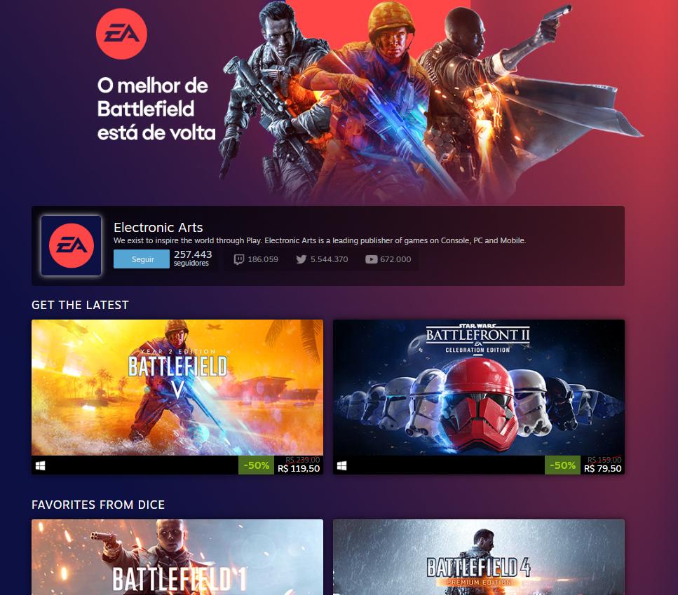 EA entra pra Steam