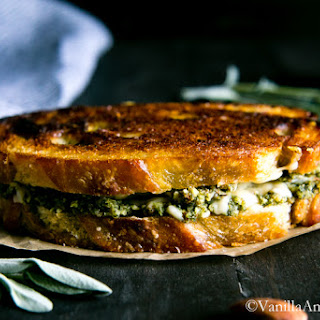 Almond-Sage Pesto Grilled Cheese Sandwich with Gruyere.