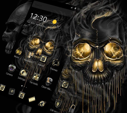 Gold Black Horrific Skull Theme 1.1.7 screenshots 1