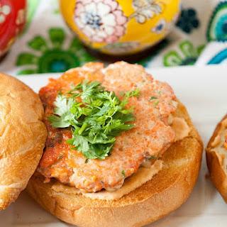 Healthy Asian Salmon Burgers with Sriracha Mayonnaise.