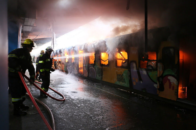 Two trains went up in flames at Cape Town station on July 21 2018. A fire in one train spread to the train alongside it.
