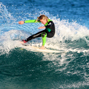 Grom Turn by Julie Steele - Sports & Fitness Surfing ( turn, steele, wave, surf )