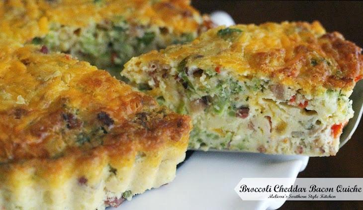 Broccoli Cheddar Bacon Quiche Recipe