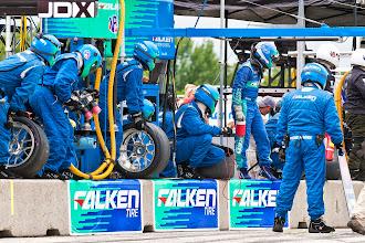 Photo: Tires, fuel and driver change.  #teamfalken #porsche #gt3 #americanlemans #roadamerica