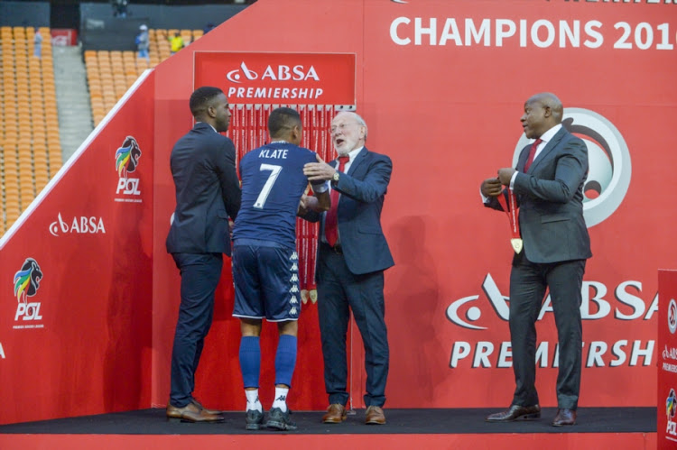 Bidvest Wits's winger Daine Klate receives a medal after the Absa Premiership match against Kaizer Chiefs at FNB Stadium on May 26, 2017 in Johannesburg, South Africa.