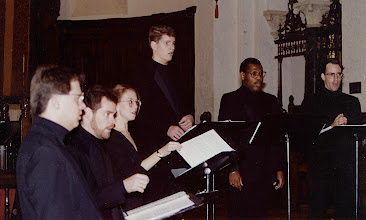 Photo: Nov. 1994: Rollins College; Mannerist Mania concert performed for the statewide American Choral Directors Association. Patman, Shawn, Alice, Tom, Jeff, David.