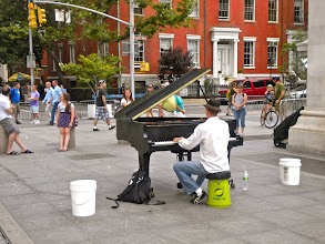 Photo: Preparing to join the gay pride march, Washington Square Park, Greenwich Village, 26 June 2011. (Photograph by Elyaqim Mosheh Adam.)  Piano.
