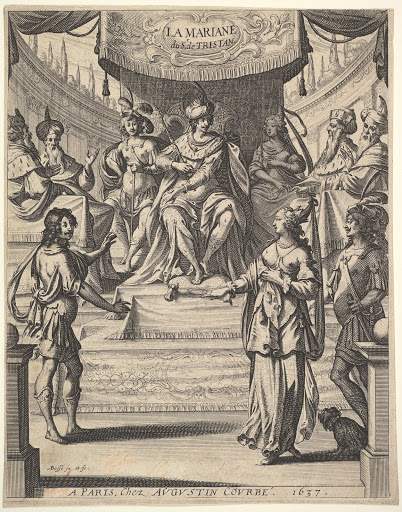 "Frontispiece for ""Tristan L'Hermite"": Marianne standing to right before Herod and his court at top center, being accused by the butler at left of poisoning her husband"