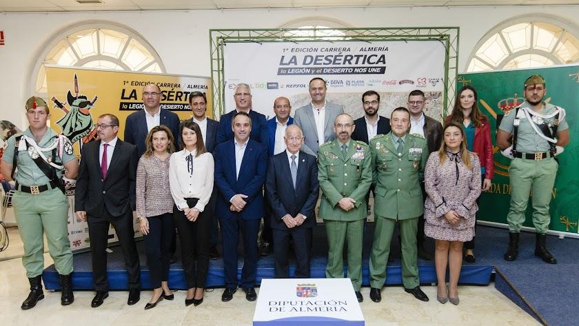 Foto de familia de los representantes de las instituciones, este miércoles en la Diputación de Almería.