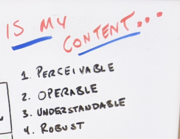 Handwritten list asking if the content is perceivable, operable, understandable, and robust