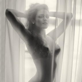 by Gregor Grega - Black & White Portraits & People ( behind the curtains, sexy, model, girl, underwear, fitness,  )