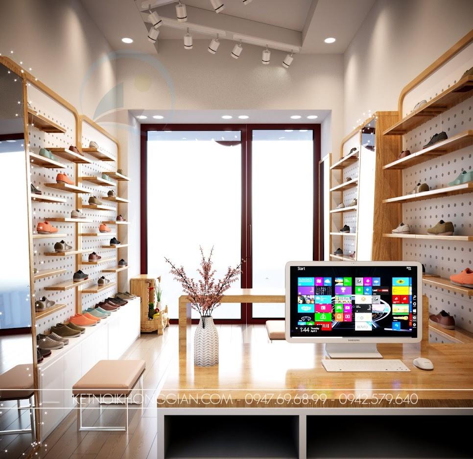 thiết kế cửa hàng giày nhỏ