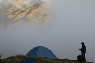 Photo: Nitin outside the blue Mountain Hardwear tent