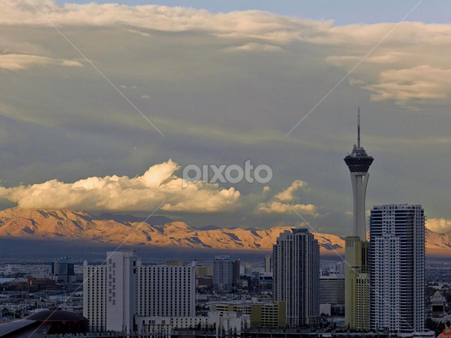 Sunset Vegas by Kerry  Milligan - City,  Street & Park  Skylines ( pwcskylines,  )