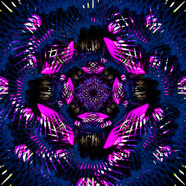 Juggling with light by Johan Kvint - Illustration Abstract & Patterns ( pink, art, canvas, kaleidoscope, trippy, patterns, purple )