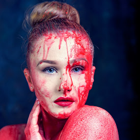 red paint by Alan Payne - People Portraits of Women ( red paint, model, paint splash, female, art, portrait, eyes )