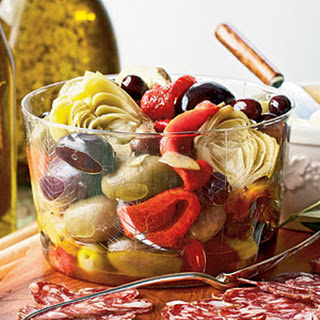 Marinated Peppers, Artichokes, and Olives.