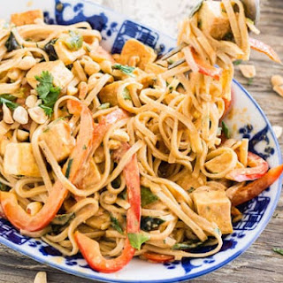 Thai Peanut Noodles with Golden Tofu.