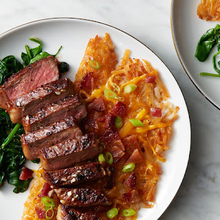 Pan-Seared Steak and Loaded Hash Browns for Two.