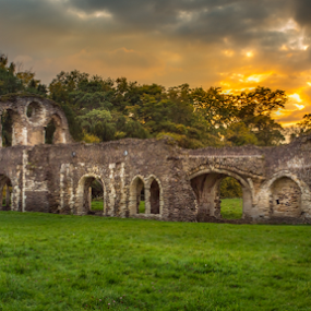 Waverley Abbey by Griff Johnson - Buildings & Architecture Public & Historical ( sky, church, grass, ruin, surrey, trees, ruins, guildford, waverley abbey, abbey )