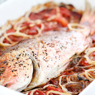 Caribbean Baked Red Snapper.
