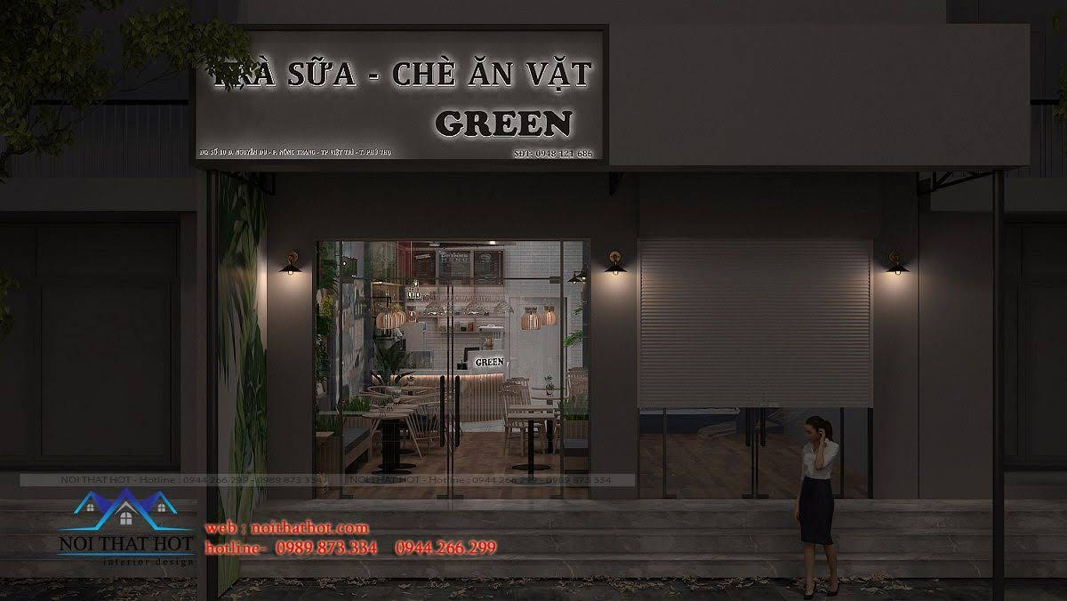 thiết kế quán trà sữa green 1