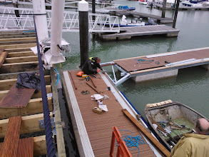 Photo: Nearly ready for the opening! Fitting the new pontoon.