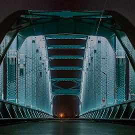 H E N D R I X  II by Iva Marinić - Buildings & Architecture Bridges & Suspended Structures ( nighttime, nikon d, reflection, night, metal, perspective, bridge, railway, long exposure, night shot, night photography )