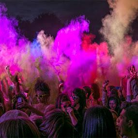 night explosion  by Karen Shivas - City,  Street & Park  Street Scenes ( colour, red, blue, pink, festival, night )