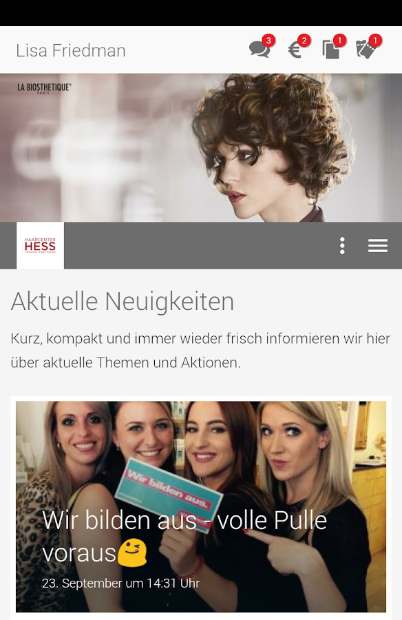 Haarcenter Hess – Screenshot
