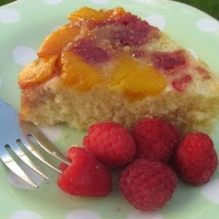 Raspberry-Mango Upside Down Cake.