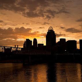 Golden Sunset in Cinci by Tiffany Bailey - City,  Street & Park  Skylines