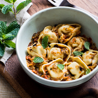 Tortelloni with Roasted Eggplant & Cherry Tomato Sauce
