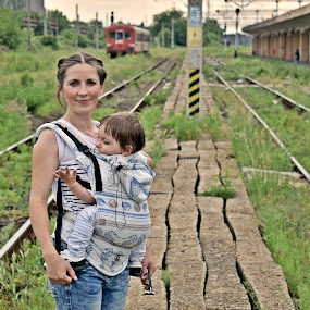 Love by Ciprian Apetrei - People Family ( train tracks, ploiesti, family, outdoor, perspective, portrait,  )