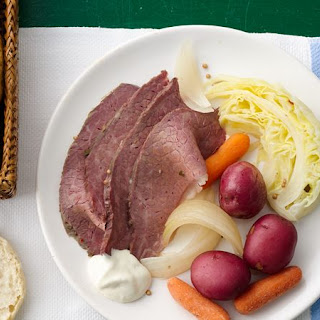 Slow-Cooked Corned Beef and Cabbage Dinner.
