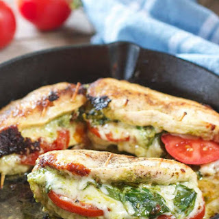 Pesto Tomato and Mozzarella Stuffed Chicken Breasts.