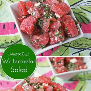 Mint & Basil Watermelon Salad with Feta.