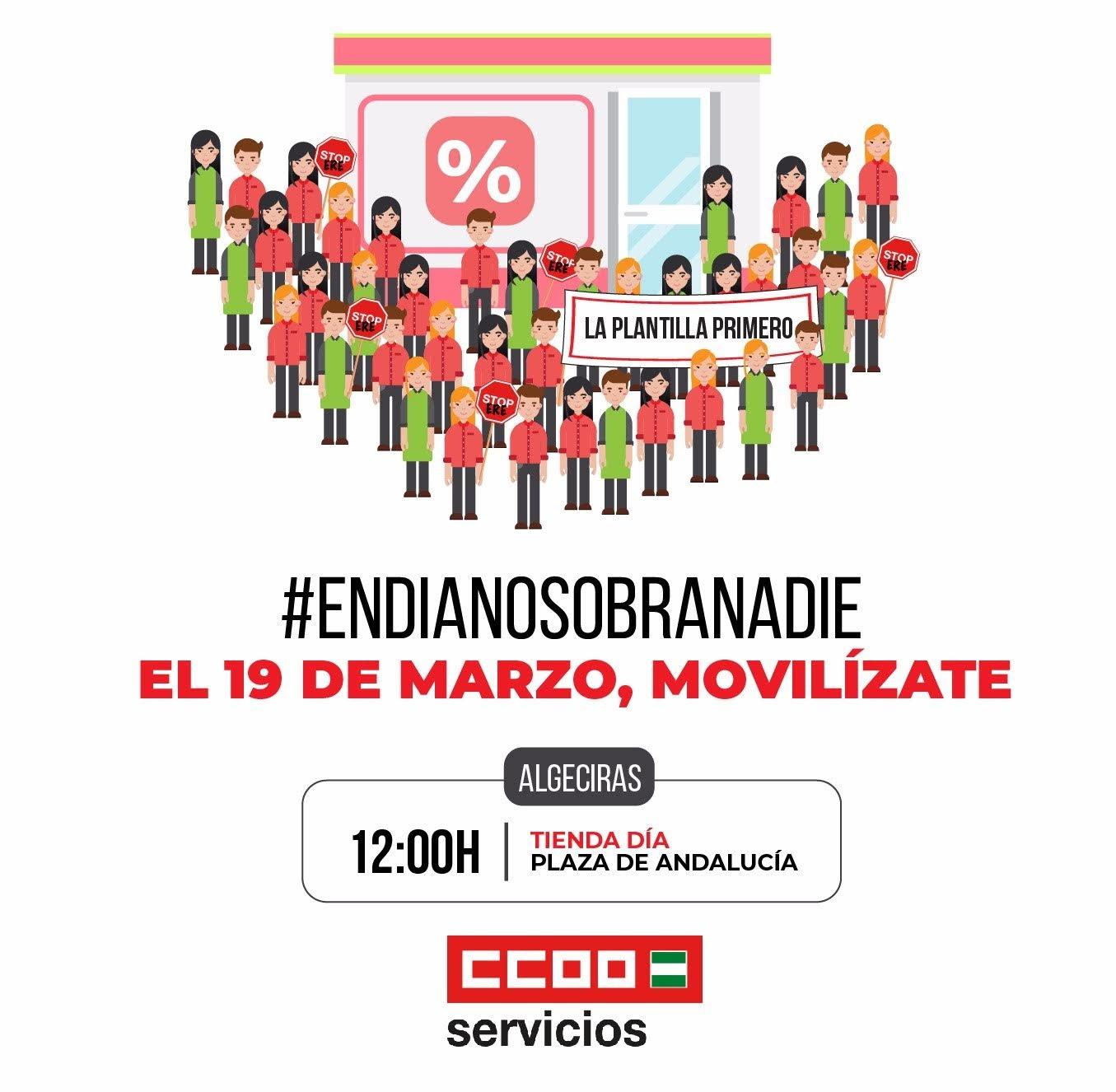 CCOO se concentrará en Algeciras en defensa del empleo en supermercados Día