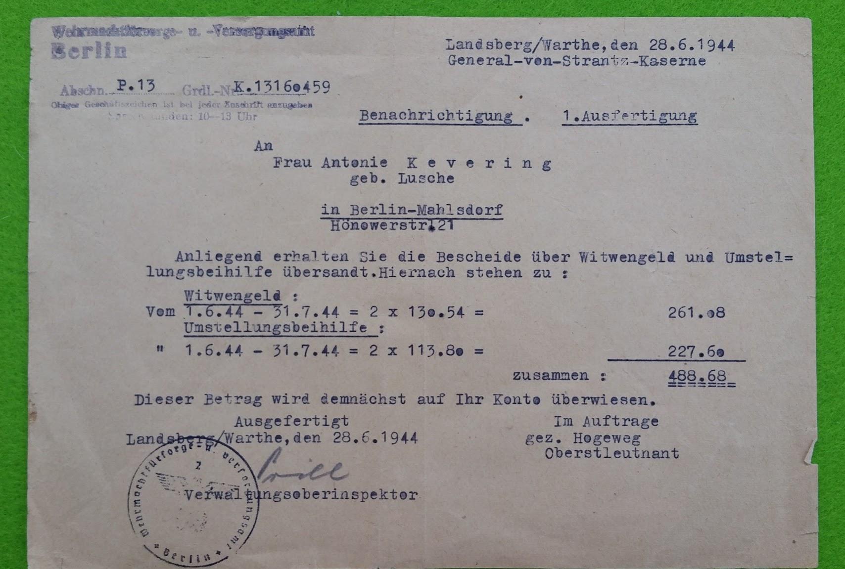 Wehrmachts-Dienst-Post - Benachrichtigung über Witwengeld - 28.6.1944