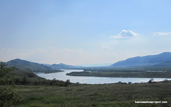 Photo: The Selenga River, and some very different landscape as we head into the steppes