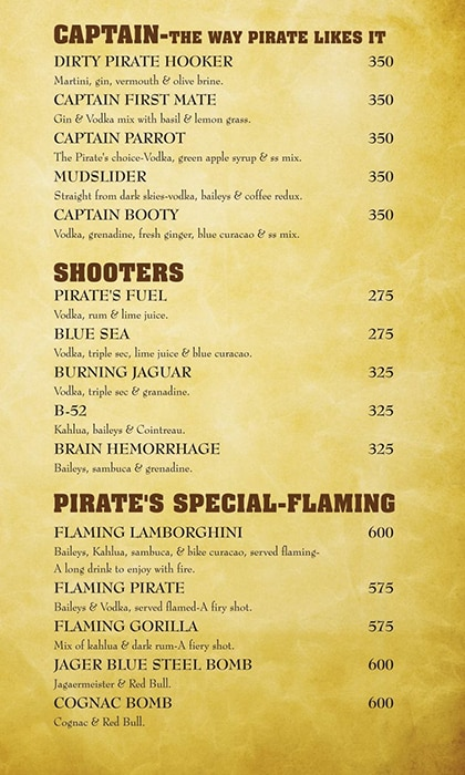 The Black Pearl menu 5