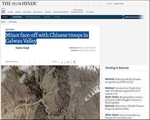 The Hindu was creating a fake narrative about an Indo-China flare-up in Galwan, it was exposed by Indian Army